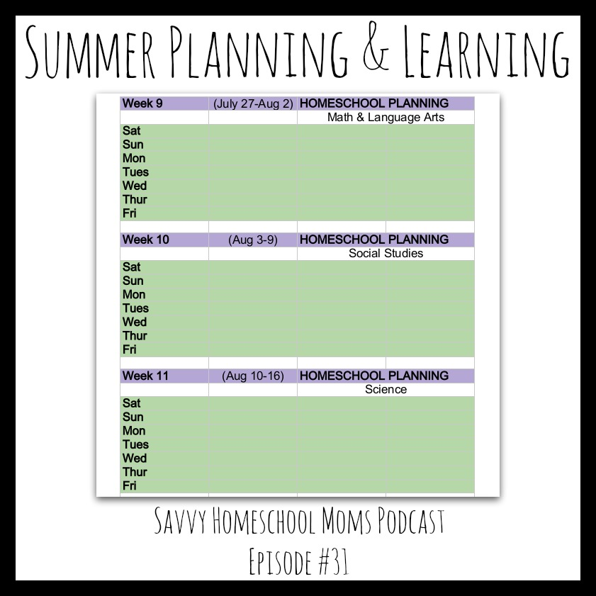 Summer Planning and Learning, Savvy Homeschool Moms Podcast