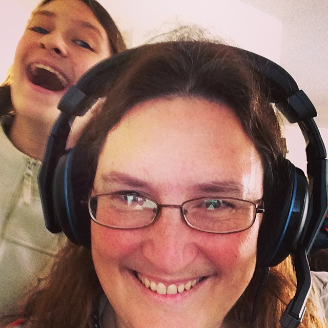 Ready with my new headset (Christmas gift from hubby) and photobomb ala Maeven. #homeschool #podcast