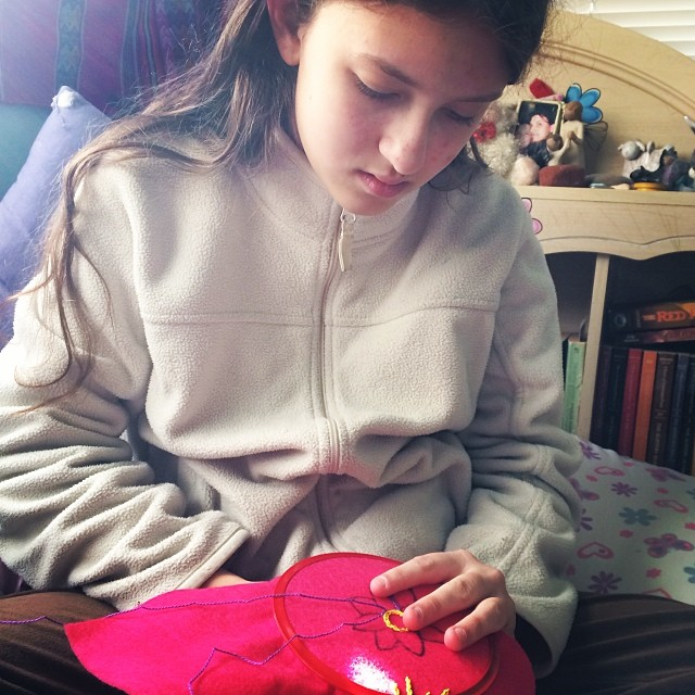 Embroidery has become Maeven's latest passion. #homeschool #embroidery #kidscrafts
