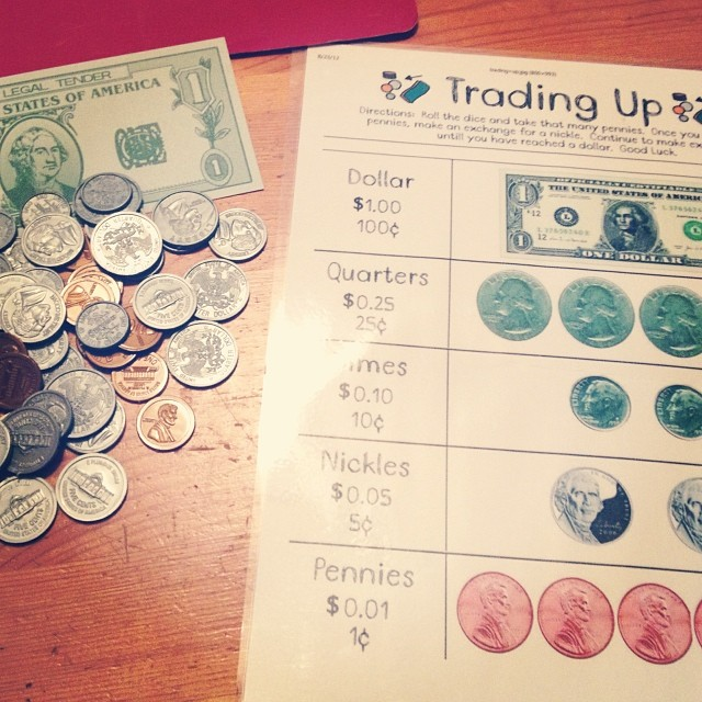 Playing math games to reinforce recent lessons! -Beckie #homeschool #Math #TradingUp