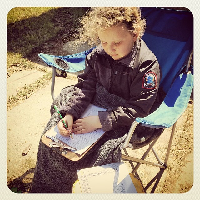 He wanted to do his math outside today. #homeschoolmath