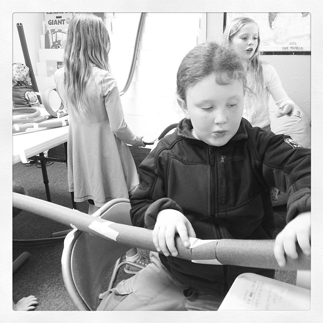 Marble track making at our homeschool charter. #homeschoolscience