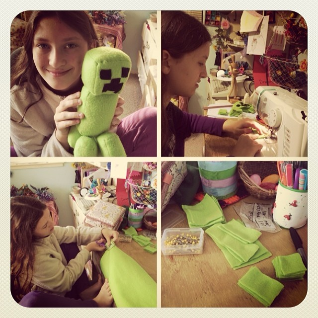 Her plush Minecraft creeper she made last week. #homeschool #sewing