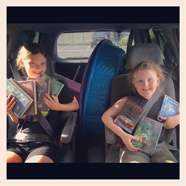 Momentous occasion...They never pick this many chapter books on their own! Successful library trip! #homeschool