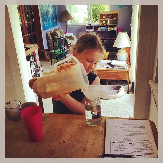 Math today, learning the difference between cups, pints and quarts by doing! #homeschool #homeschoolmath