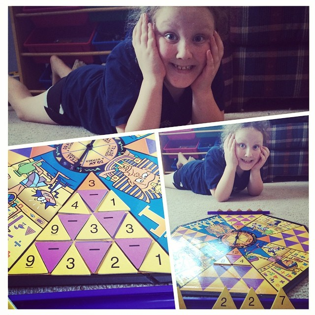 "1st day, new homeschool year, playing""Totally Tut"" --Tina. #homeschoolmath"